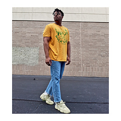 Jason - Adidas Yeezy Supermoon, Asos Cropped Denim, Gap Screen Tee - Neon Yellow