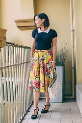 Lindsey Puls - Modcloth Floral Skirt, Kate Spade Bag - How to Style a Floral Midi Skirt