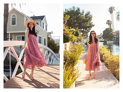 Lisa Valerie Morgan - Sister Jane Dress, Lack Of Color Hat - Pink Dress + Boater Hat