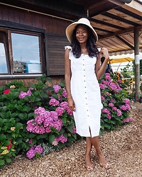 PAMELA - H&M Straw Hat, Warehouse White Midi Summer Dress - The White Summer Dress