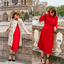 Christina & Karina Vartanovy - Burberry Beige Trench Coat, Asos Shoulder Bag With Wide Snake Detail, Chic Wish Belted Midi Dress In Red, Rosewholesale Lace Up Black Flat Shoes - Christina // feel it still
