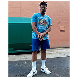 Jason - Nike Air Force One, Asos Dad Shorts, Gap Screen Tee - Highschool Fit