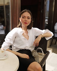 Kasia Szymków -  - Forever go-to: White shirt & silk skirt