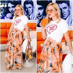 Zia Domic - Cece By Cynthia Steffe Graphic Tee, Chicwish Floral Maxi Skirt - Orange Crush