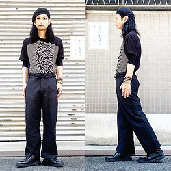 @KiD - Joy Division Unknown Pleasures, Ch. Wide Slacks, Dr. Martens 3 Hole Shoes - JapaneseTrash520