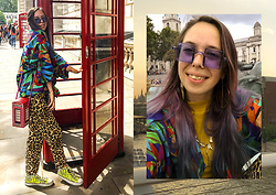 Treska Alina - Vintage Blue Sunglasses, H&M Pacific Earrings, Accessorize Red Box Bag, Converse Yellow Sneakers, H&M Leopard Pants, Vintage Colorful Shirt - Pulse of the city