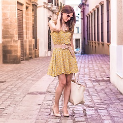 El Rincón de Rachel - Shein Yellow Floral Print Dress - Yellow Floral Print Dress Outfit