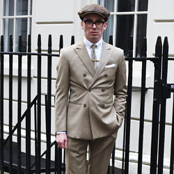 Harry J Bartlett - Laird Hatters Leather Cap, Vivienne Westwood White Shirt, Bespoke Suit, Vintage Striped Tie, Gold Tie Clip - Peaky Blinder
