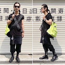 @KiD - Invasion Club Sunglasses, Monochrome Parachute Tops, Obey Neon Bag, Odyn Vovk Skirt Pants, Vivienne Westwood Cigarette Case, Dr. Martens 3 Hole Shoes - JapaneseTrash524