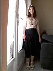Lulu Longstocking - Thrifted Top, Thrifted Skirt, Cameo - Victorian inspiration