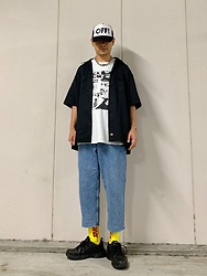 ★masaki★ - Dickies Work Shirts, Zara Buggy Jeans, Nike Air Monarch - 90's look