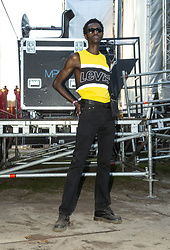 Jon The Gold - Levi's® Black & Yellow Logo Tank Top, Levi's® Black Slim Tapered, Dr. Martens Black Boots - Black & Yellow