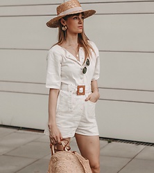 Vicky W - Asos Jumpsuit, Ellen & James Straw Bag, Asos Design Straw Hat - Cream Colored Summer Look