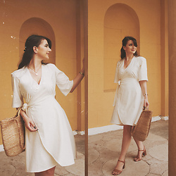 Karolina G. - Mango Jute Basket Bag, Tintofmint Diy Linen Wrap Dress - Dolce vita- ryan paris