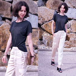 Claire H - Mango Shirt, Perrin Paris Clutch, Zara Satin Pants, Högl Black Leather Mules - Two - tone