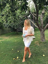 Fern Jenner - Nasty Gal White Dress, Zara Tassel Shirt - Apple Tree