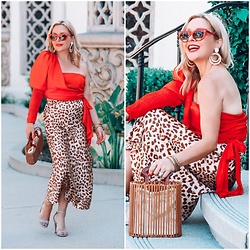 Zia Domic - Delphine The Label Red One Shoulder Top, Free People Leopard Skirt - Leopard X Red