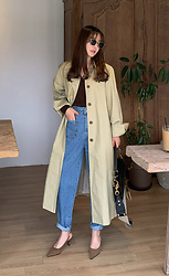 Miamiyu K - Miamasvin Buckled Belt Raglan Sleeve Trench Coat - Almost Autumn