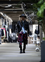 INWON LEE - Byther Denim Layered Leather Trucker Jacket, Byther Tartan Check Flannel Loose Fit Shirt - Rocking Leather Jacket