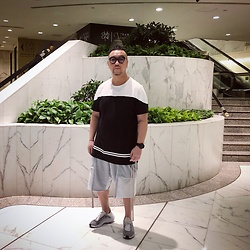 Mannix Lo - Forever 21 Two Tone Tee, Undercover Patchwork Sweat Shorts, Nike Exp 14 Sneakers - Do what is right for you. No one is walking in your shoes