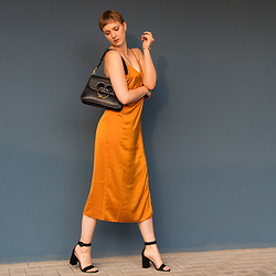 Sabine K - J. W. Anderson Pierce Bag, New Look Slipdress - Golden Dinner Time