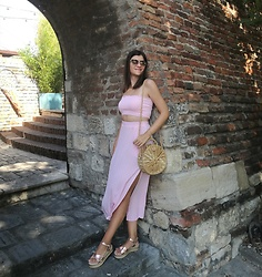 Ivana - Shein Two Piece Set, Rosegal Straw Bag, Bn Boss Rose Gold Sandals, Esprit Sunglasses - Polka Dot Two-Piece Set