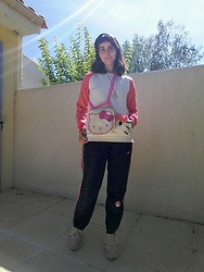 Lulu Longstocking - Thrifted Hello Kitty Sweater, Hello Kitty Bag, Thrifted Hello Kitty Necklace, Adidas Sweatpants - Hello, Kitty!