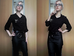 Grim Alex - Prescription Glasses, Aliexpress Ankh Earrings, Simple Necklace, Takko Fashion Black Shirt Decorated With A Brooch, Stradivarius Black Belt With O Ring, H&M Black Leather Like Jeggings - Back to school