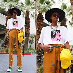 Dominic Grizzelle - Lazy Oaf One More Slice Tee, Lazy Oaf Corduroy Pants, Converse Diy High Tops, Bonnie & Clyde Dark Sunnies - MR HAPPY 😀