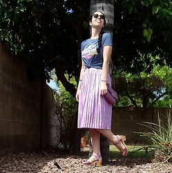 Saguaro Style - Thrifted Jurassic Park Tee, Endless Rose Purple Pleated Skirt, Coach Kristen Swing Pack, Swedish Hasbeens Purple Heart Clogs - 09.06.19