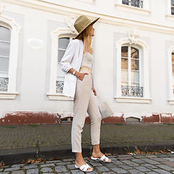 Catherine V. - South Beach Straw Hat, Zara Blazer, Asos Square Neck Body, Best Mountain Linen Pants, Sacha Sandals, Mango Pearl Bag - THE NEUTRAL TREND