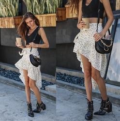 Jenny M - Shein High Low Skirt, Bcbg Crop Top, Sam Edelman Studded Boots, Aldo Black Crossbody Purse - HIGH-LOW LIFE // thehungarianbrunette.com