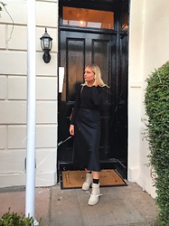Fern Jenner - New Look Silk Skirt, H&M Knit Jumper, Timberland Boots - All black