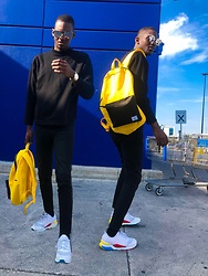 Fred Anyona - Herschel Yellow Backpack, Asos Black Crewneck Sweater, Forever 21 Black Skinny Jeans, Puma White Sneakers, Reflector Sunglasses - BACK TO SCHOOL BACKPACK IDEAS