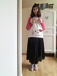 Lulu Longstocking - Thrifted Hello Kitty Jewelry, Thrifted Hello Kitty Sweater, Pleat Skirt, Thrifted Shoes - Hello, Kitty!