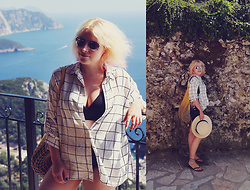 Anca Varsandan - Mango Net Bag, New Yorker Shirt, H&M Bathingsuit, Ipanema Flip Flops - View over Corfu Island