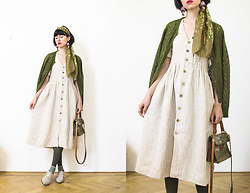 Charlotte Isabeau - Pertini Brogues, King Louie Vest Wool - Linen and olive
