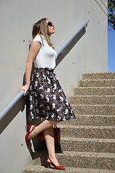 Elisabeth Green - Rosegal Skirt, Rosegal Shoes - Cats on my skirt