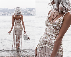 Kristina - Elliatt Lace Fringe Dress, Farrah And Sloane Velvet Fringe Bag - Sea nymph