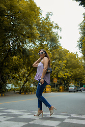 Pooja Mittal - Levi's Ripped Jeans, Asos Halter Top, Charles And Keith Clogs, Aldo Sling Bag, Shein White Sunglasses - Like A Boss