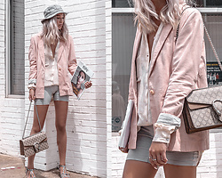Kristina - As By Df Pink Suede Blazer And Tie Dye Blouse, Gucci Crossbody Bag, Brixton Bucket Hat - Pink suede and biker shorts