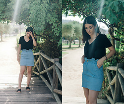 Adriana R. - Femme Luxe Light Blue Denim Paperbag Skirt, Dresslily Cross Strap Platform Espadrille Slides - Light Blue Paperbag Skirt