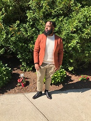 Akil Carter - Asos Rust Blazer, Zara Chino Pants, Aldo Black Shoes, H&M Cream Sweater - Fall colors
