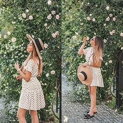 Gabriela Grębska - Renee Dress, Gioseppo Sandals, Zara Hat - Dot dress
