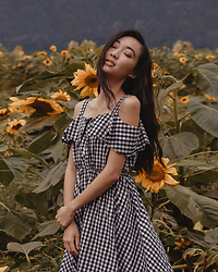 Gabby Chia - Romwe Gingham Picnic Dress - Sunflower festival
