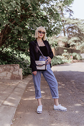 Ingrid G - Ray Ban Tortoise Sell Cat Eye Sunglasses, Black Blazer, Cotton On Ribbed Velvet Bodysuit, Colette Hayman Handbag, Zara Paperbag Jeans, Superga Sneakers - Fancy but Fun