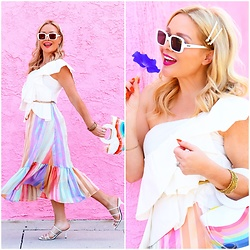 Zia Domic - Storets Ruffled Top, Stine Goya Rainbow Skirt - Rainbow Bright
