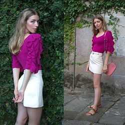Alba Granda - Zara Pink Sweater, Zaful White Skirt, Parfois Pink Bag, Ulanka Brown Sandals - Pink Frills