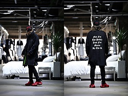 INWON LEE - Byther Hidden Hood Wind Coat, Byther Pants, Byther Vivid Leather Suede Fahion Sneakers - Long Black Jacket