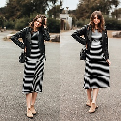 Audrey - Uniqlo Maxi Dress, Vila Perfecto, Minelli Boots - First fall outfit - Stripes dress